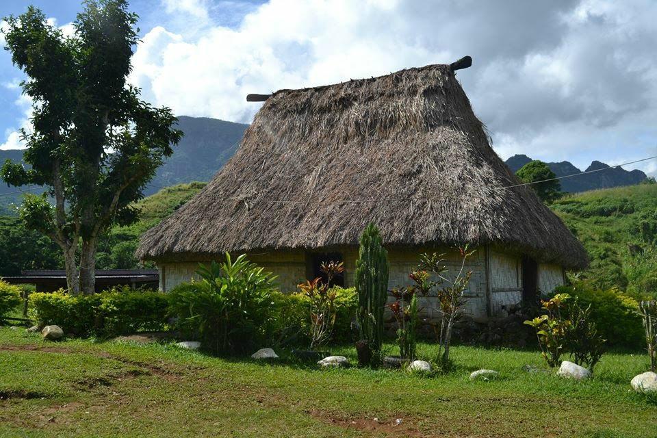 Island hut on family escape to Fiji.