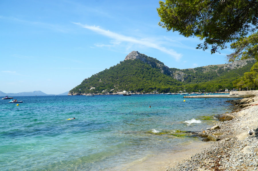 Swimming at Formentor beach in Mallorca.