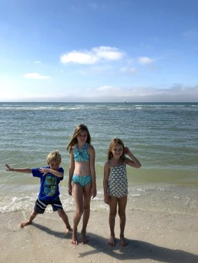 Swimming in the Gulf on Keewaydin Island in Florida.