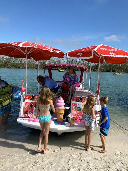 Ice cream boat on Keewaydin Island in Florida