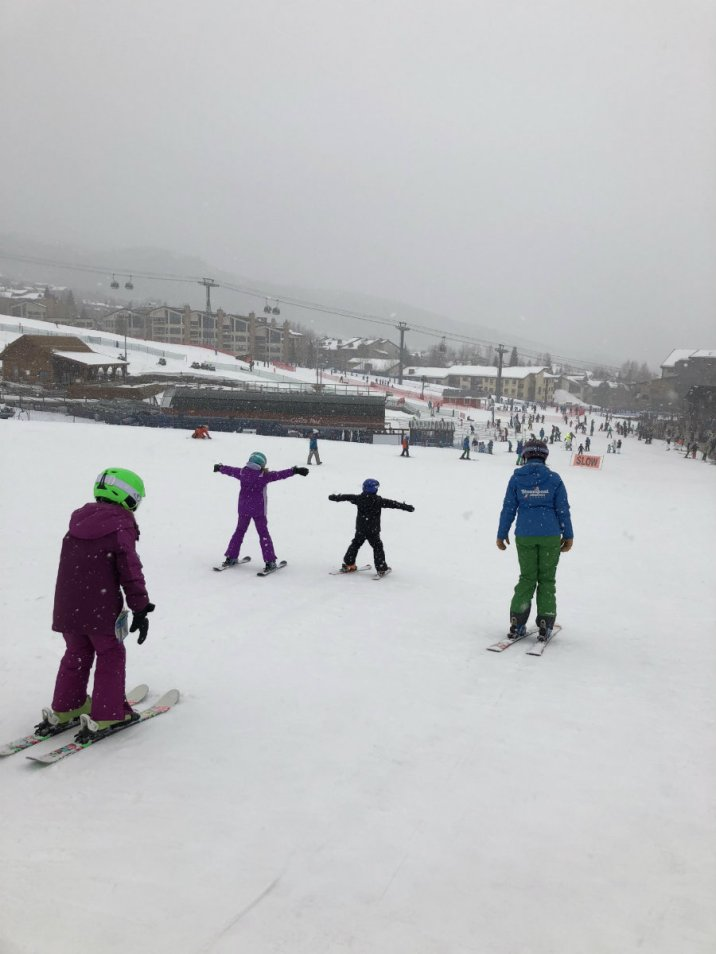 Ski lesson at Steamboat Springs ski resort