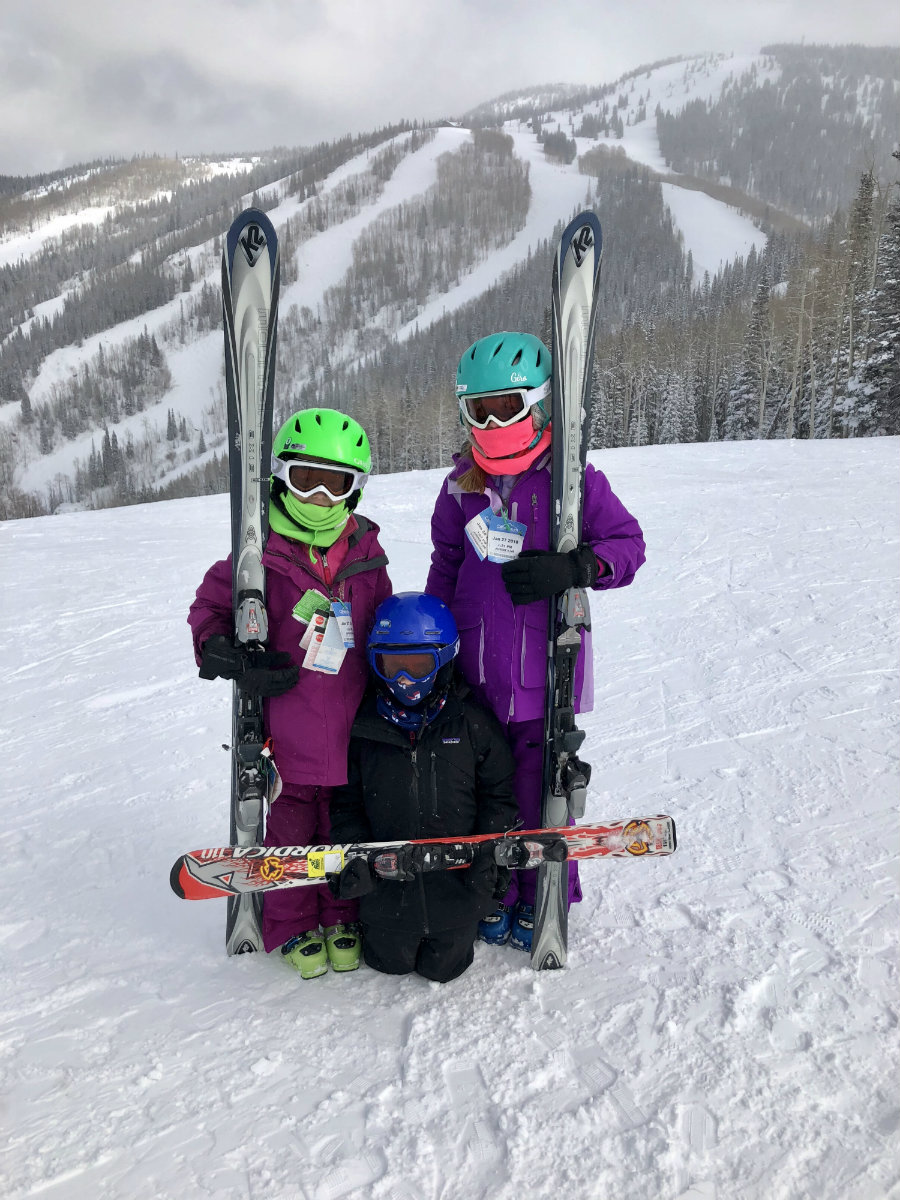 Kids at the top of the gondola in Steamboat Springs