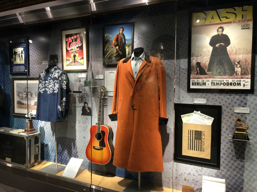 Johnny Cash's clothing and memorabilia at the Johnny Cash museum in Nashville, TN