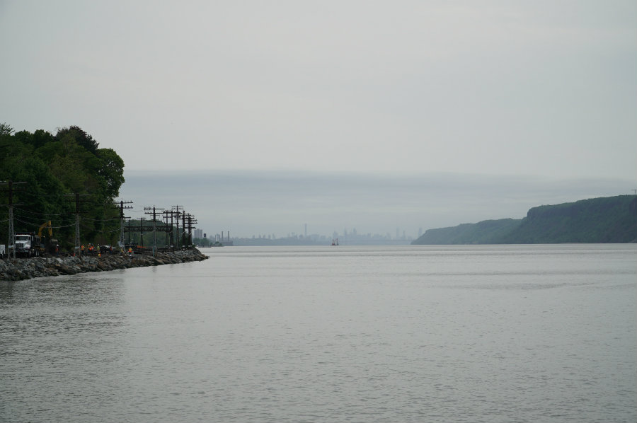 View of the Manhattan skyline from Scenic Hudson Park in Irvington, NY in Westchester