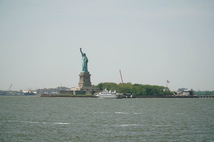View of the Statue of Liberty from Governors Island in New York