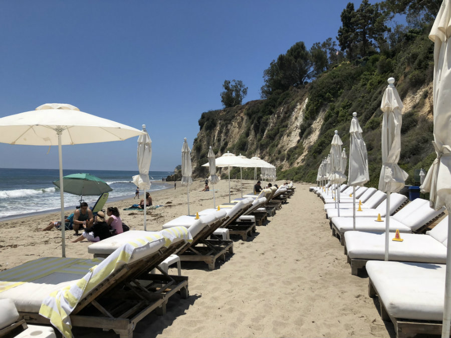 Sun beds at Paradise Cove in Malibu