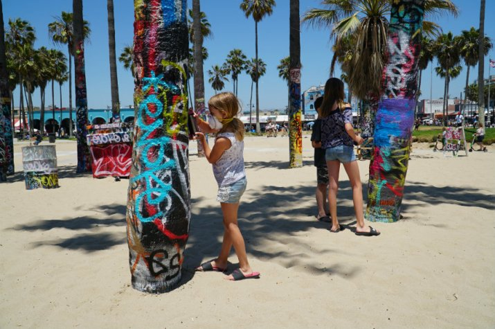 Spray painting at the Venice Art Walls
