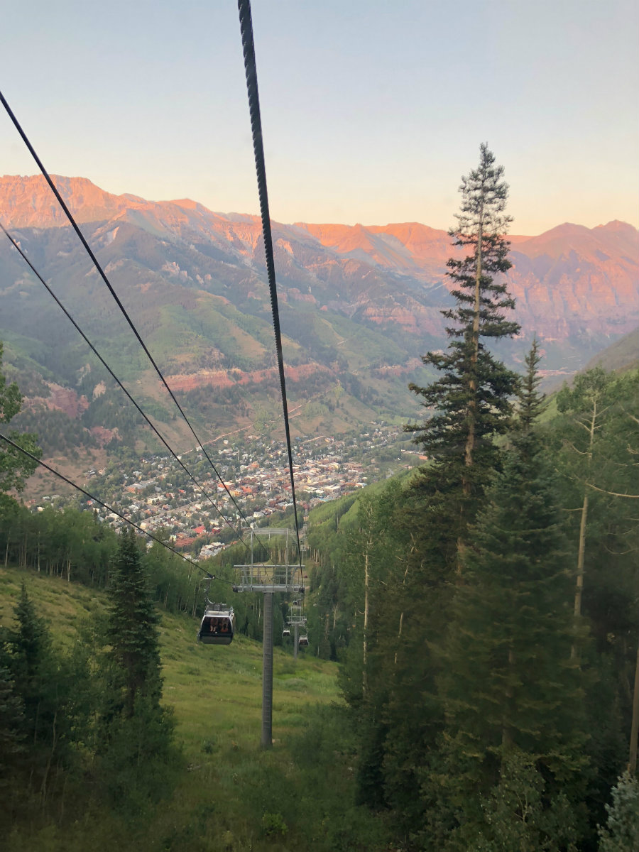 Taking the gondola from Telluride to Mountain Village