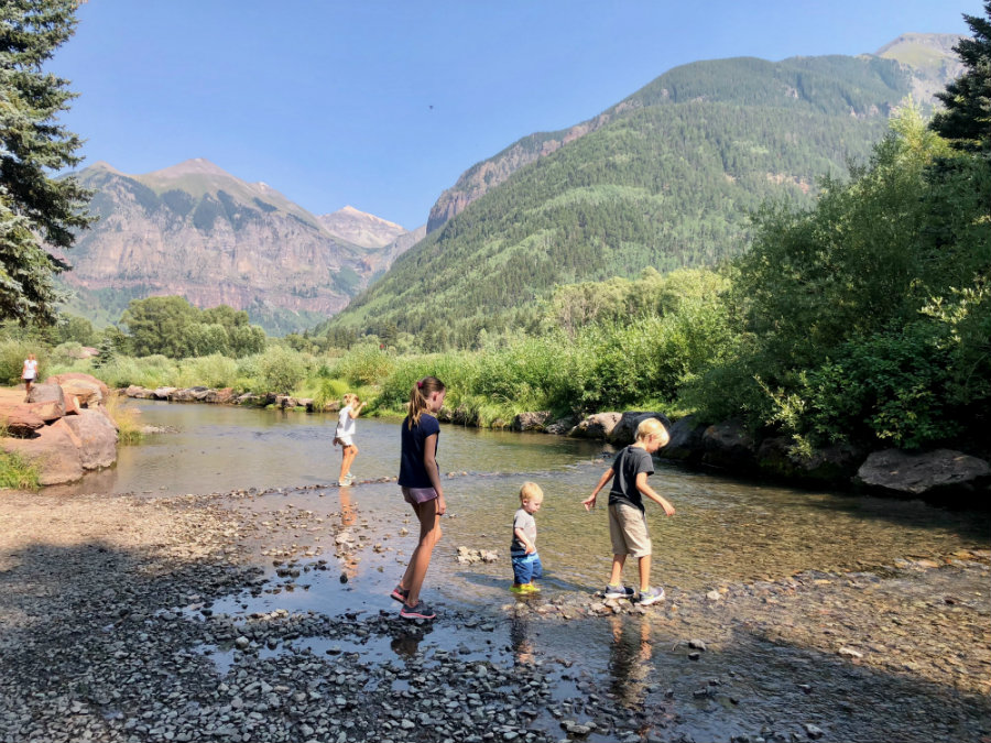 Telluride in summer, playing in the San Miguel River
