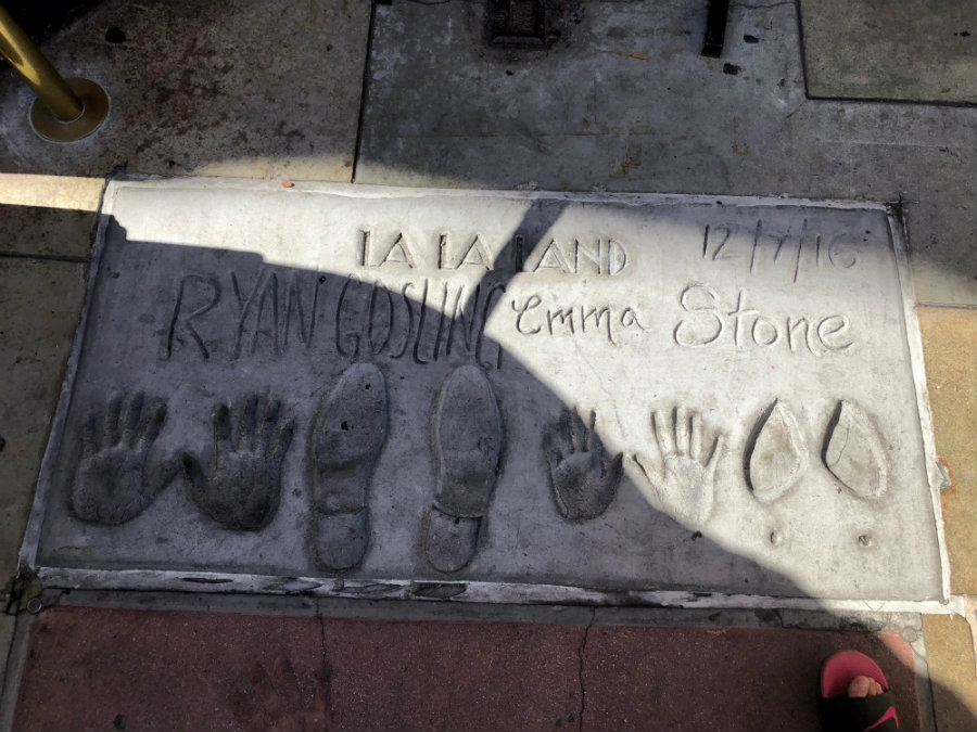 Hollywood Walk of Fame with kids, hand prints at Chinese Theater