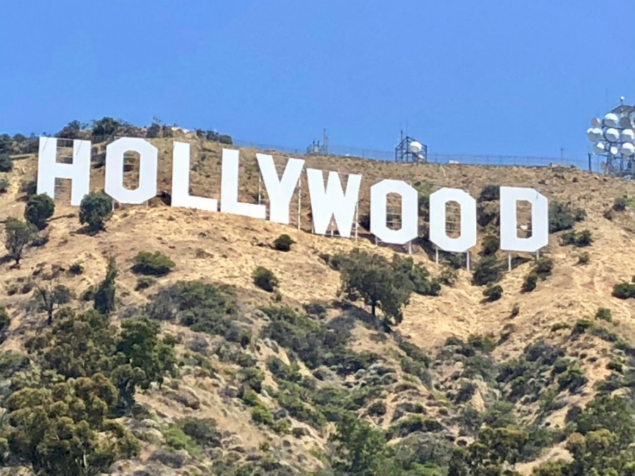Checking out the Hollywood sign with kids
