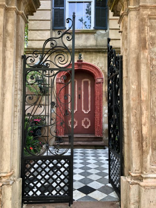 Beautiful entryway of antebellum home in Charleston, SC