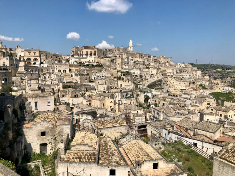 view of the Sassi in Matera Italy
