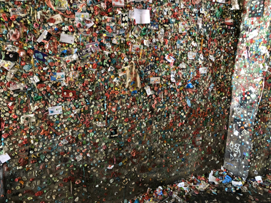 Checking out the gum wall on Post Alley in Seattle