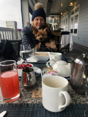 Breakfast with my dog at the Wharf restaurant at the Madison Beach Hotel