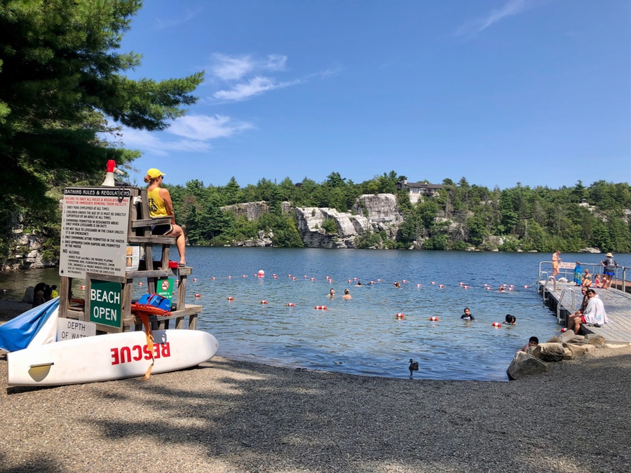 Spending the day at the beach at Lake Minnewaska