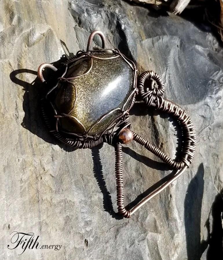 Fifth Energy Jewelry Golden Obsidian Feline Pendant Unique Gifts