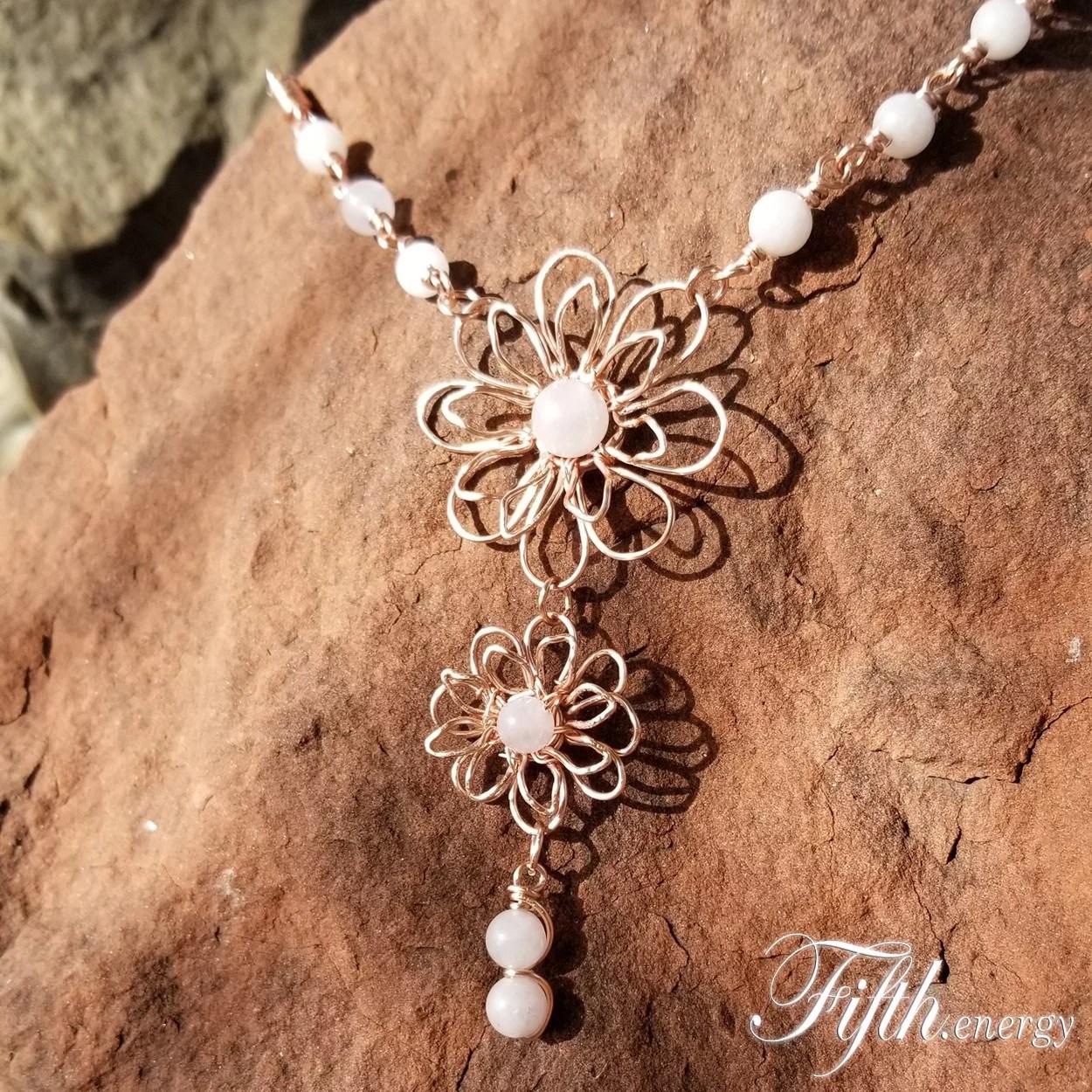 Rose Quartz Gemstone Flower Necklace Fifth Energy Jewelry
