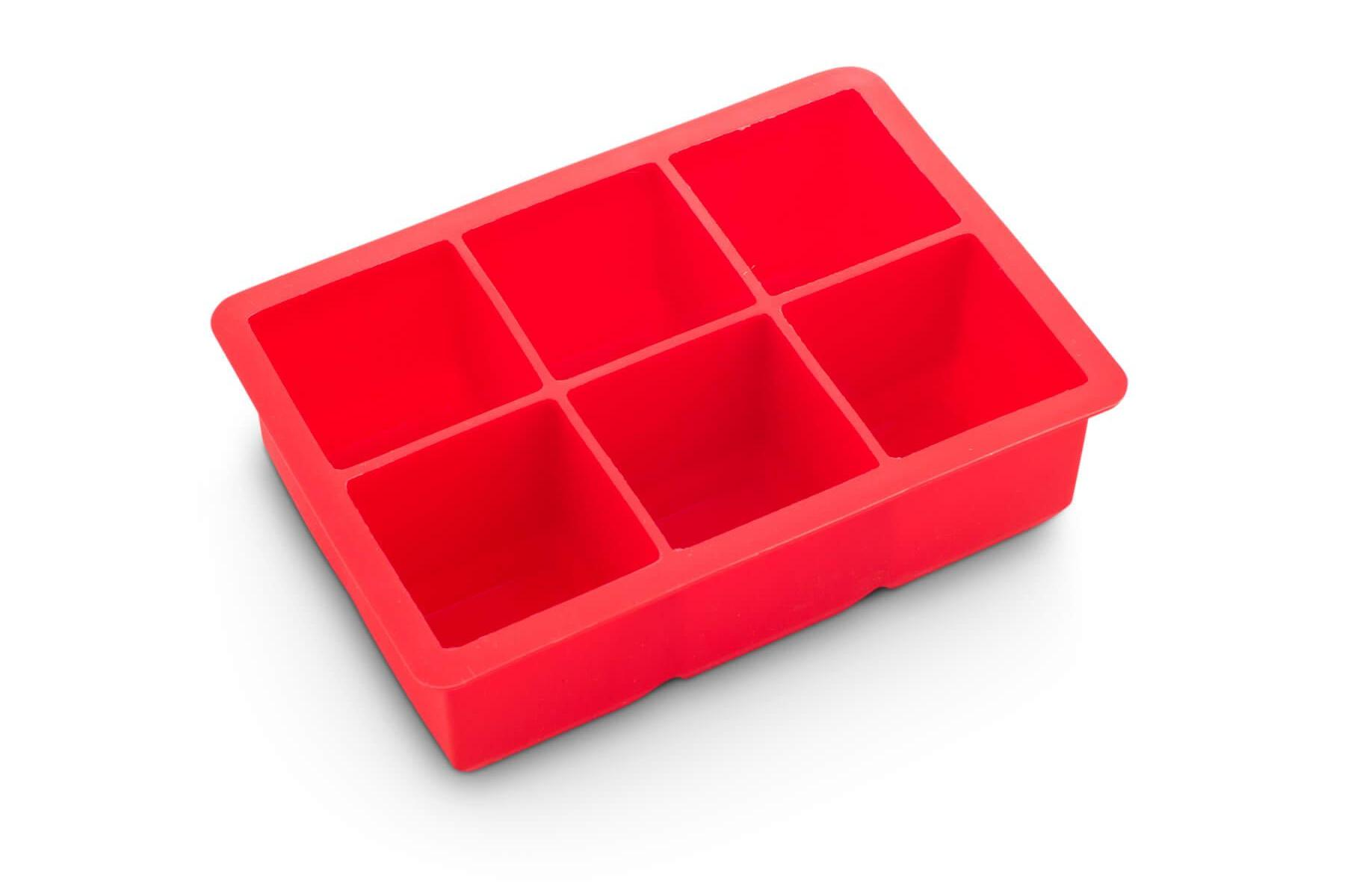 Large Ice Mould Tray - 2 in king cubes 6 Section Red Silicone