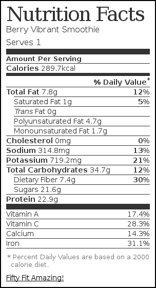 Nutrition label for Berry Vibrant Smoothie