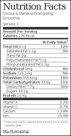 Nutrition label for Cocoa & Banana Energizing Smoothie