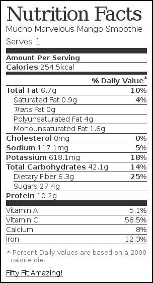 Nutrition label for Mucho Marvelous Mango Smoothie