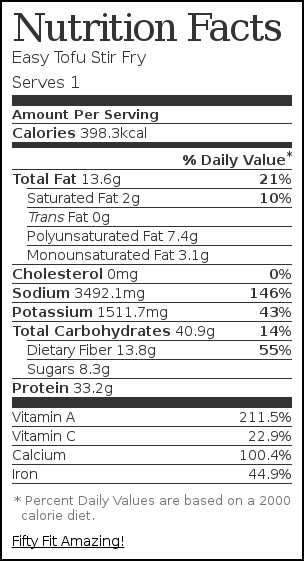 Nutrition label for Easy Tofu Stir Fry