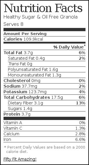 Nutrition label for Healthy Sugar & Oil Free Granola