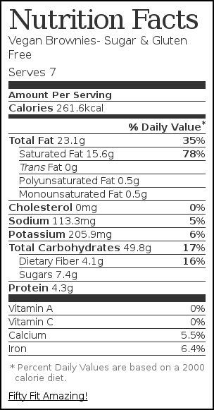 Nutrition label for Vegan Brownies- Sugar & Gluten Free