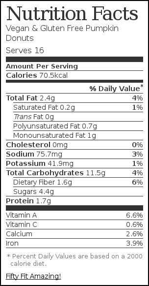 Nutrition label for Vegan & Gluten Free Pumpkin Donuts