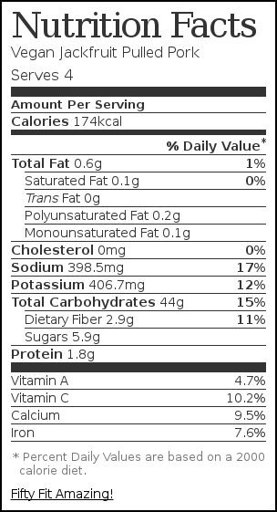 Nutrition label for Vegan Jackfruit Pulled Pork