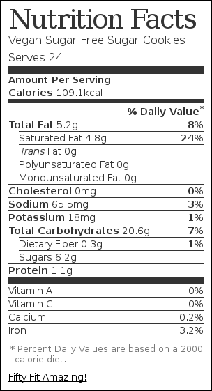 Nutrition label for Vegan Sugar Free Sugar Cookies