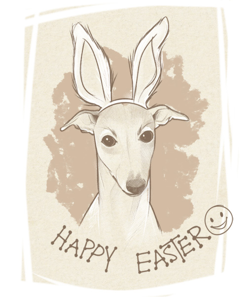 Sketch of whippet with Easter ears on