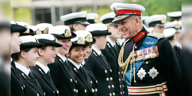 Prince Philip, Duke of Edinburgh meets students from Pangbourne College outside the Falkland Islands Memorial Chapel where he attended a service to mark the 25th anniversary of Liberation Day, June 14, 2007 in Pangbourne, England.The late royal's funeral will 'reflect military precision.'