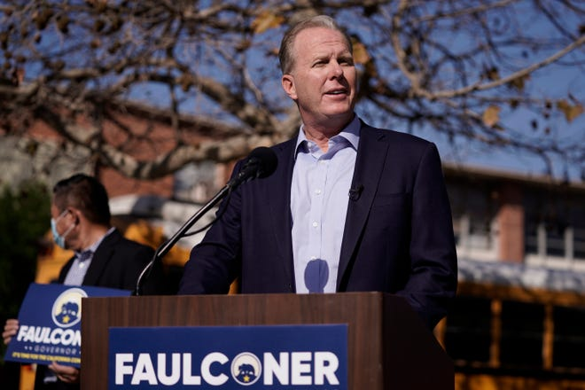 FILE - In this Feb. 2, 2021, file photo, former San Diego Mayor Kevin Faulconer speaks during a news conference in the San Pedro section of Los Angeles. Faulconer is one of the Republican candidates running to replace Democratic Gov. Gavin Newsom, of California, in a likely recall election in fall 2021. (AP Photo/Jae C. Hong, File)
