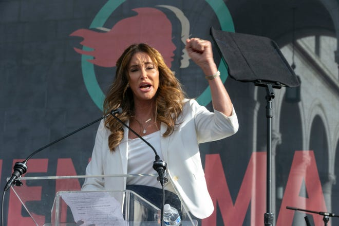 Caitlyn Jenner speaks at the 4th Women's March in Los Angeles on Jan. 18, 2020.  Jenner, the transgender icon, reality TV star and former Olympic athlete, has declared her intention to run for California governor in the looming recall race to unseat incumbent Democrat Gavin Newsom.