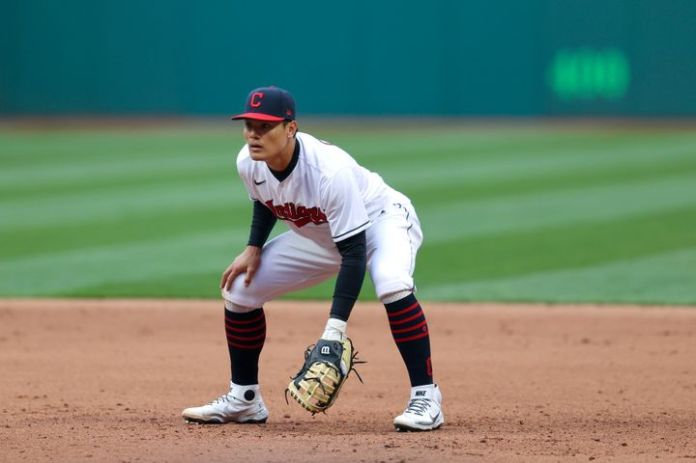 Yu Chang, pictured in a game earlier this season, received anti-Asian tweets after he committed a costly for Cleveland on Mon