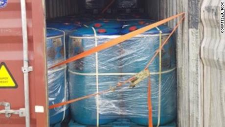 The shipping container held 72 tons of propionyl chloride when it was seized in Laos.
