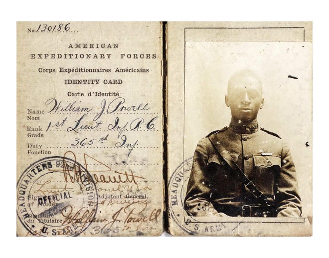 American Expeditionary Forces (AEF) Identification Card of 1st Lt. William J. Powell.