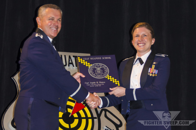 """Major Angela """"pH"""" Waters graduating from the United States Air Force Weapons School"""