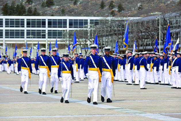 Cadet Wing leadership leads the Founder's Day Parade April 5 on the terrazzo. Founders Day honors the U.S. Air Force Academy's founding, which began April 1, 1954, when President Dwight D. Eisenhower signed Public Law 325, 83rd Congress, Second Session, formally authorizing the establishment of an Air Force Academy and appropriating $126 million for its construction. Secretary of the Air Force Harold Talbott announced in June 1954 that the Academy would be built in Colorado Springs.(Liz Copan/U.S. Air Force photo)