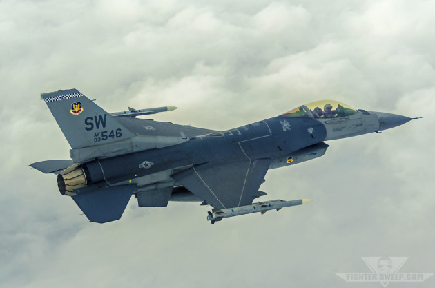 "Captain John ""Ocho"" Brown flies a Block 50 F-16CJ through Bulldog MOA in eastern Georgia during a training mission."