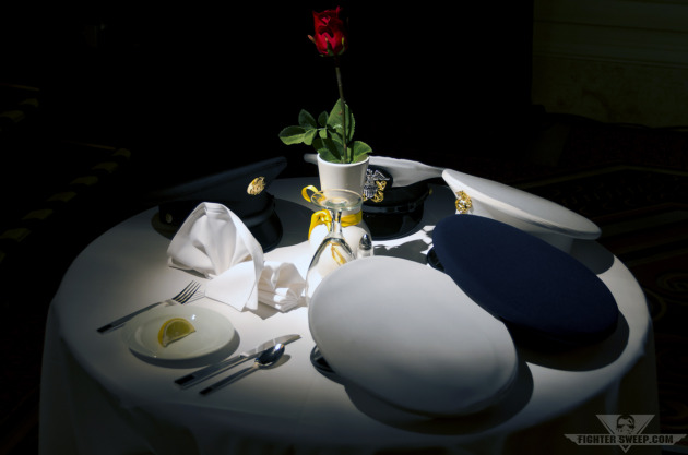 The table setting for those missing or held captive, honored by the USAF Weapons School during the graduation dinner.