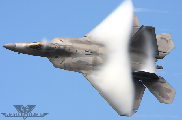 "Major Henry ""Schadow"" Schantz"" performs the ""Dedication Pass"" during his F-22 Raptor Demonstration, a maneuver placing him consistently under the pressure of more than 9 Gs."