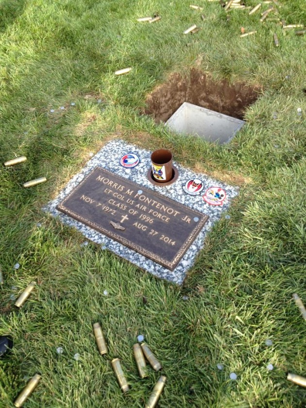 """The final resting place for Lieutenant Colonel Morris """"Moose"""" Fontenot, Jr. Our friend and brother departed too soon. (Photo by Jonathan """"Jersey"""" Burd."""