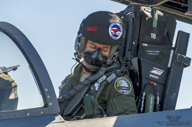 """Mac,"" a Boeing F-15C pilot with the Oregon Air National Guard's 123 FS, starts his jet in preparation for a training mission."