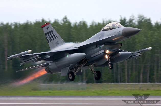A Block 40 F-16CM of the 36 FS gets airborne from Eielson AFB, Alaska during Red Flag.