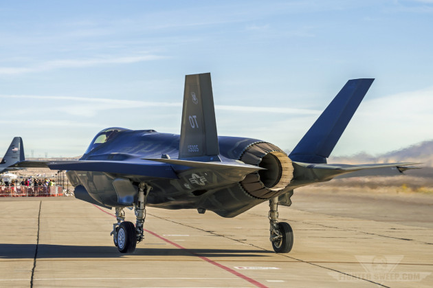 An F-35A Lightning II assigned to the 422 TES taxis down the flightline at Nellis AFB, Nevada.
