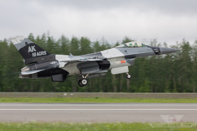 The 18th Aggressor Squadron flagship takes to the sky from Eielson Air For Base outside of Fairbanks, Alaska for a training sortie.