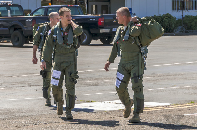 """Pound, ""MAC,"" and another F-15C pilot from the OR ANG's 123 FS step to their jets for a training mission."